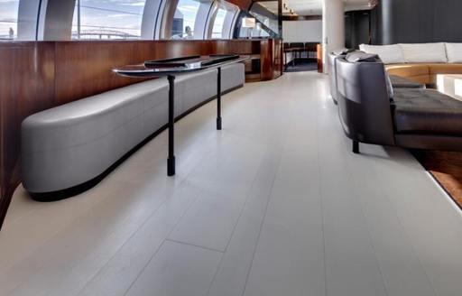 Ultramodern interior of charter yacht VERTIGO