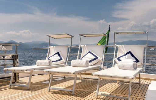 Sun loungers on superyacht ANTISAN