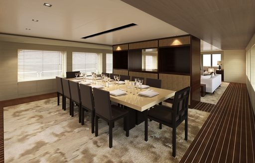 rendering of the interior dining area aboard motor yacht CHASSEUR