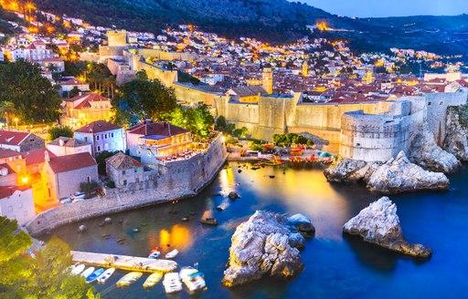 Overlooking Dubrovnik yacht Old Town in Croatia