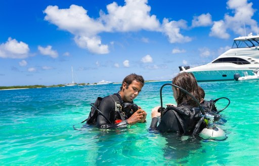 Charter guests can enjoy scuba diving in the Bahamas waters