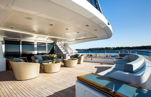 Seating area on motor yacht VERTIGO
