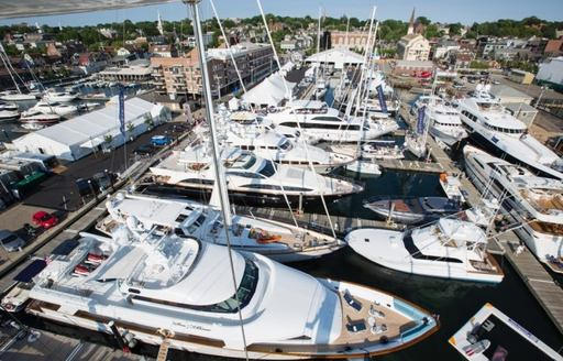 yachts lined up for the Newport Charter Yacht Show