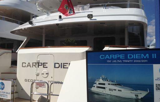 Charter yacht CARPE DIEM on display at FLIBS 2014