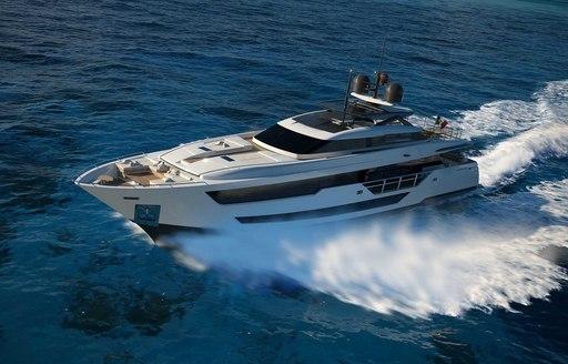 vista blue superyacht underway
