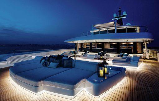 illuminated foredeck of luxury yacht lady jorgia