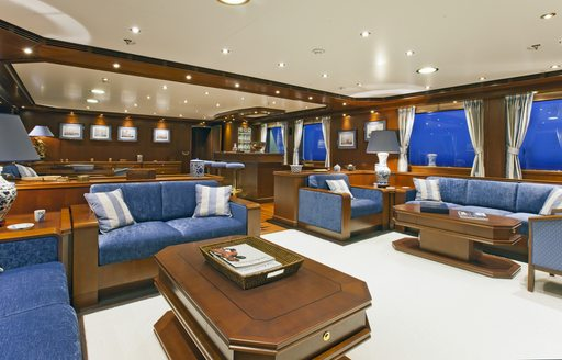 lounge area in main salon of expedition yacht Axantha II
