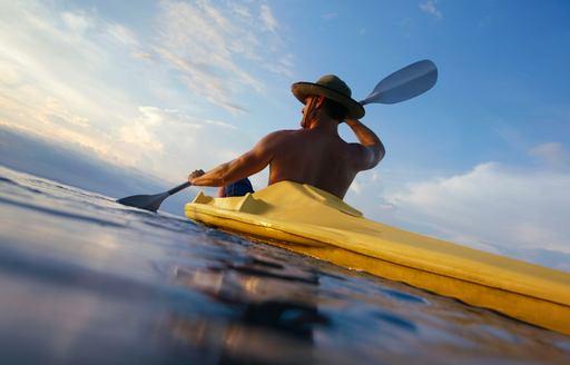 Man kayaks in Costa Rica waters