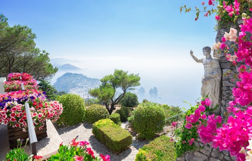 the popular tourist attraction villa lysis in capri where fleets of charter yachts visit