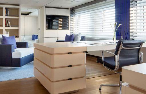 Master suite office onboard MY Kamalaya