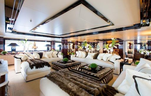 The main salon of superyacht Lioness V