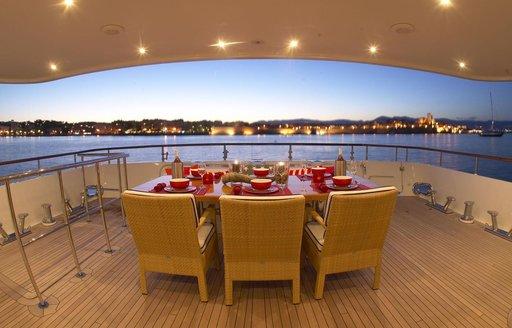 alfresco dining setup on vast aft deck on expedition yacht BELUGA
