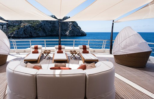 Sun deck on luxury yacht Here Comes the Sun