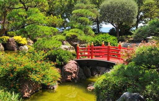 bridge over river in jardin exotoque in monaco