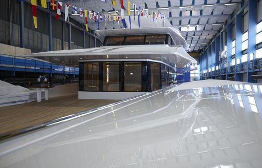 The sundeck and upper salon of luxury yacht JOY