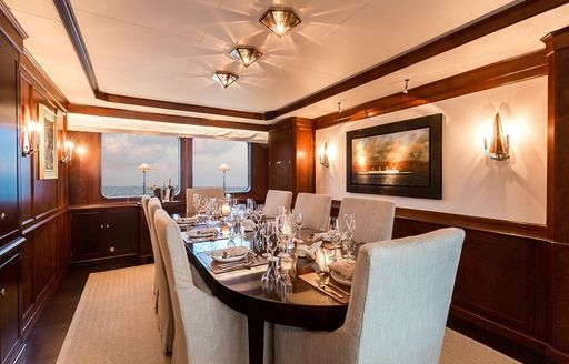 classically styled dining salon on board luxury yacht PIONEER