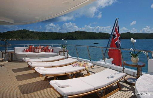 Sun loungers aft deck onboard MY Amaryllis
