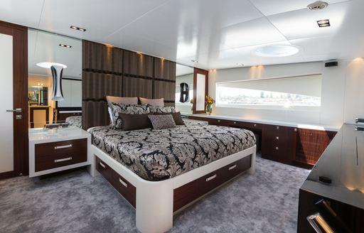 Luxurious master suite on board luxury yacht Paradise