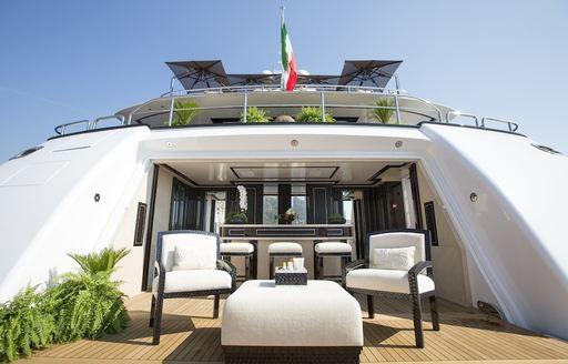 drop-down swim platform and bar aboard luxury yacht 'Illusion V'