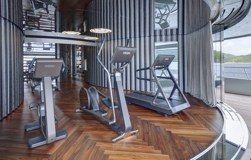 Treadmills and cycling machines on board a superyacht
