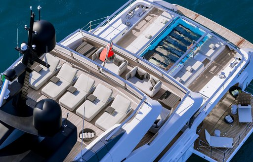 lady lena superyacht by sanlorenzo, aerial view of aft decks with sun loungers and pool