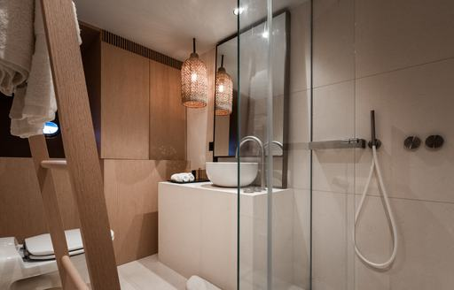 Ensuite sink and shower on charter yacht NEOPRENE