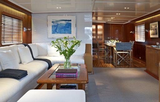 modern main salon with original fittings aboard charter yacht 'Heavenly Daze'