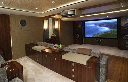 home cinema suite on superyacht wheels