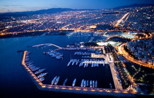 Greek Marina at night