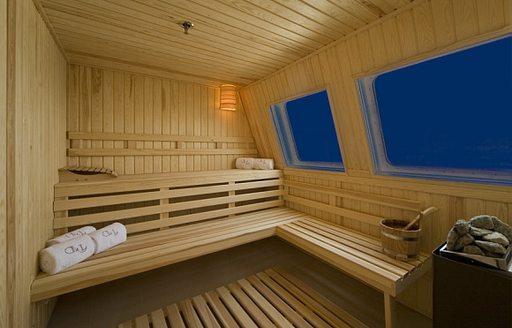 Wood-clad sauna on board charter yacht Lauren L