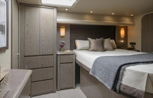 A guest cabin on board superyacht 'Ata Rangi'