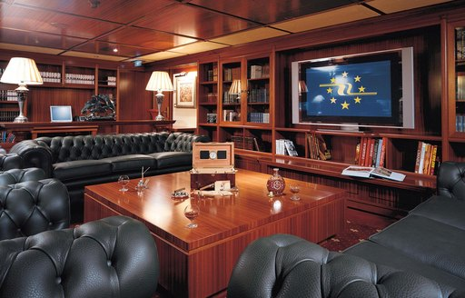 Cinema and library on board luxury yacht Lauren L