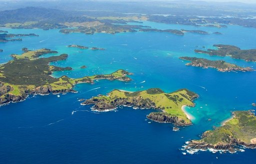 aerial view of Bay of Islands in new zealand