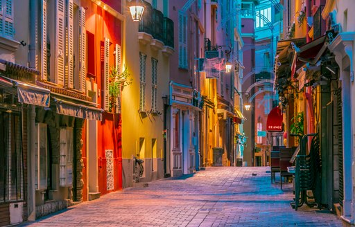 Architecture of the old town of Monaco on French Riviera.  M