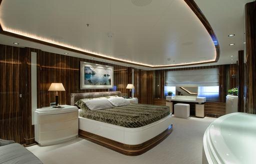 spacious master suite on board luxury yacht O'NEIRO
