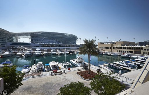 superyachts in dubai harbour for the abu dhabi grand prix