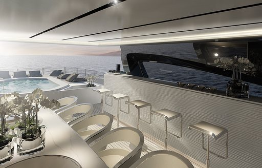 long bar and alfresco dining on sundeck of charter yacht OURANOS
