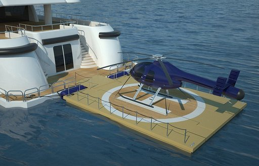 floating island could be used as helipad on charter yachts