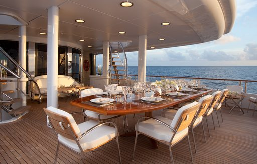 Aft deck dining area of motor yacht Friendship