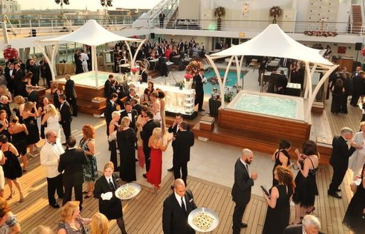 the sundeck of Lauren L transforms into a glittering party hub