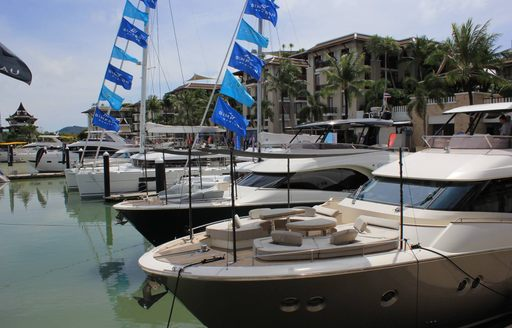 yachts line up in the Royal Phuket Marina for the 2017 Phuket International Boat Show