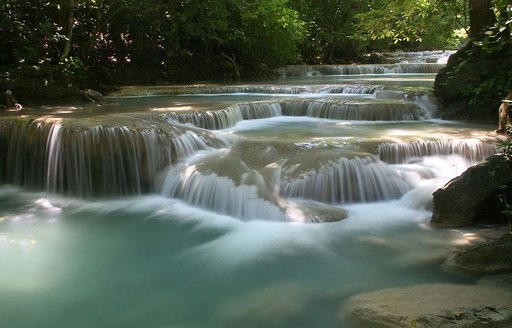 Cascading water on the rocks at Thung Salaeng Luang National Park