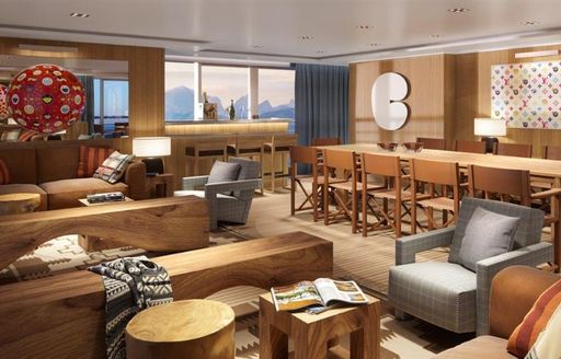 charter yacht planet nine main dining room and communal area