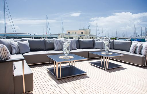 alfresco lounge on sundeck of superyacht Princess AVK