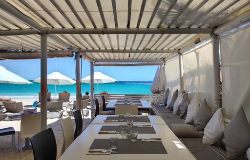 sea-view dining tables at La Plage in St Barts
