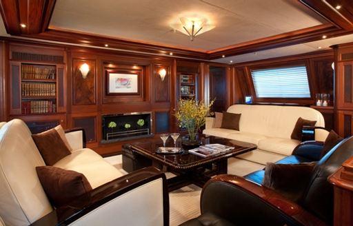 mahogany-clad main salon with Art Deco theme aboard superyacht TIARA