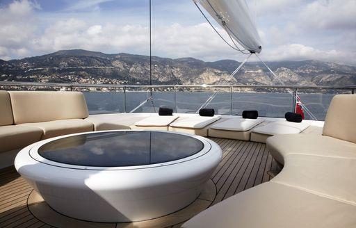 seating and sunpads of sun deck of sailing yacht panthalassa