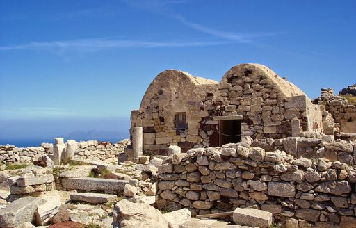 excavated ruins of Ancient Thira in Santorini, Greece