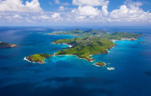 Sprawling islands in the Caribbean, viewed from air