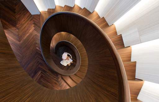 Curved staircase onboard MY Savannah